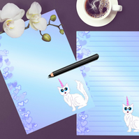 Printable Blue Cat Writing Paper, Stationery To do List Journal Page Download