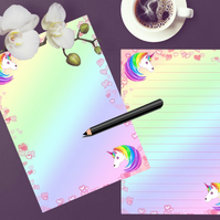 Printable Unicorn Writing Paper, Stationery To do List Journal Page Download