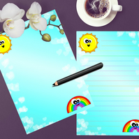 Printable Rainbow Writing Paper, Stationery To do List Journal Page Download