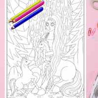 Centaur and Baby Unicorns Colouring Page Printable PDF Digital download