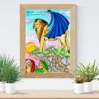 Lion and Cubs with Wings Art Printable Download Fantasy wall art Big Cat Poster