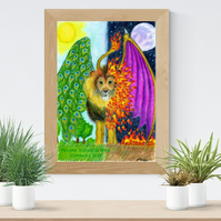 Lion with Wings Big Cat Art Printable Download JPEG Fantasy wall art Cat Poster