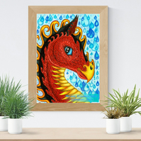 Red Water Dragon Art Printable Download JPEG Fantasy wall art Dragon Poster