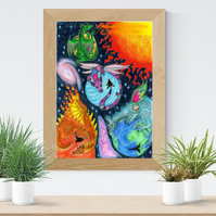Planet Dragons Art Printable Download Space nursery decor Galaxy poster