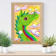 Green Air Dragon Art Printable Download JPEG Fantasy wall art Dragon Poster