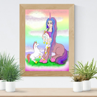 Centaur and Baby Unicorns Art Printable Download Nursery Decor Poster Wall Art