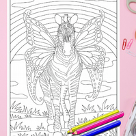 Zebra with Wings Pegasus Colouring Page Printable PDF digital download
