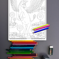 Donkey Unicorn Pegasus Colouring Page Printable PDF Digital download