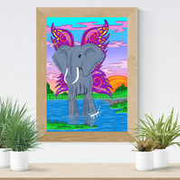 Elephant with wings Art Printable Download JPEG Fantasy wall art Elephant Poster