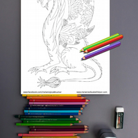 Dragon Unicorn Colouring Page Printable PDF Digital download DIY colouring