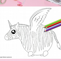 Zebra with Wings Colouring Page Printable PDF digital download