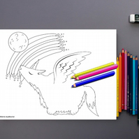 Howling Wolf with Wings Colouring Page Printable PDF digital download