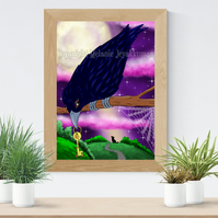 Raven Art Printable Download JPEG Halloween decoration Gothic Art