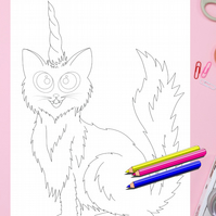 Kitty-corn Cat Colouring Page Printable PDF digital download