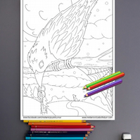 Spooky Raven Colouring Page Printable PDF Digital download Halloween fun