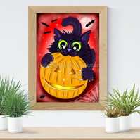 Halloween Cat Art Printable Download JPEG Halloween decoration Gothic Art