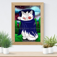 Dracula Cat Art Printable Download JPEG Halloween decoration Gothic Art