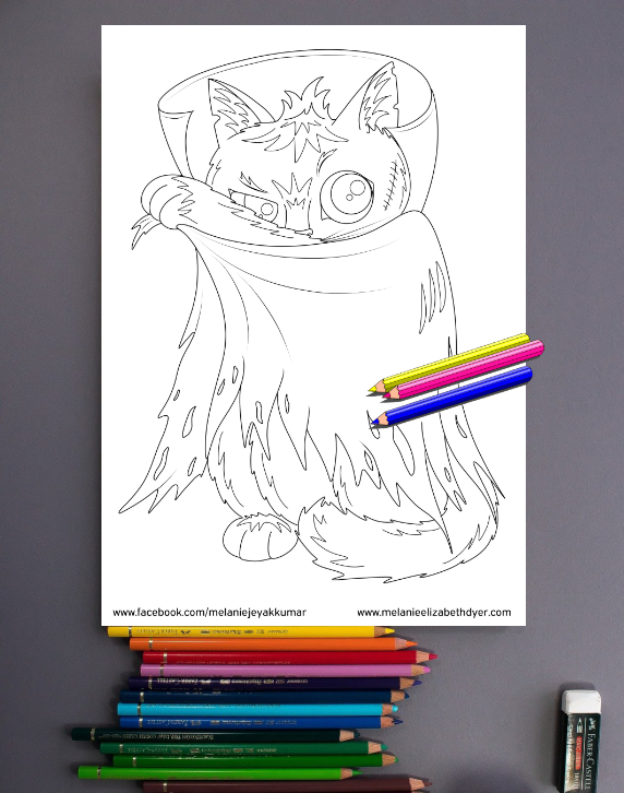 Dracula Cat Colouring Page Printable PDF Digital download Halloween activities