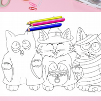 Trick or Treat Cat Colouring Page Printable PDF Digital download Halloween fun