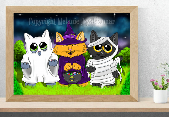 Trick or Treat Cat Art Printable Download JPEG Halloween decoration Gothic Art