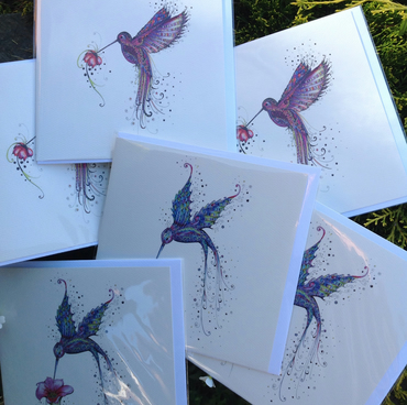 Offer  pack of 6 Humming Bird blank inside greeting cards