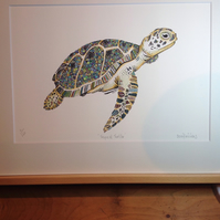 Tropical Turtle Print 12 x 15'' mounted ready to frame