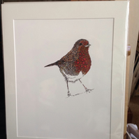 Robin Red Breast 12 x 15'' mounted Print