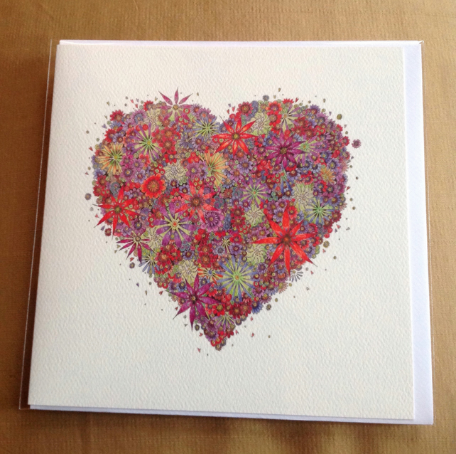 Red floral heart blank card