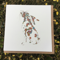 Floral Hare Greeting card
