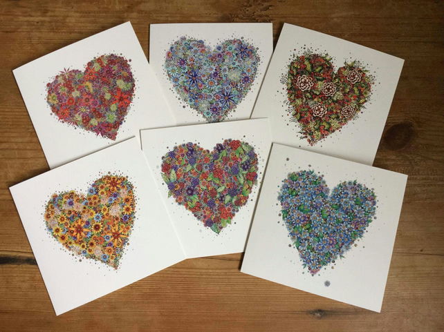 6 x Floral Heart Collection OFFER Greeting card