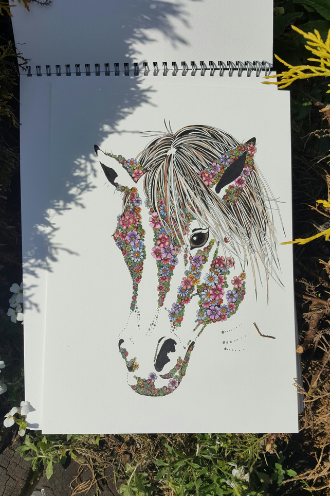 "Barley Sugar the Pony Print (12 x 15"") mounted and ready to frame"