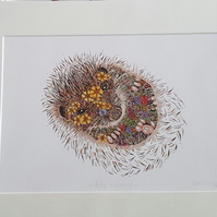"Berry Hedgehog print 12 x 15"" mounted and ready to frame"