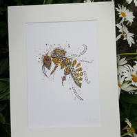 Exquisitely detailed Honey Bee Print 12 x 15 mounted, ready to frame