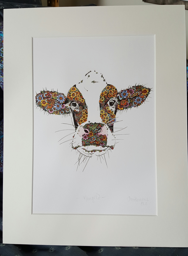 "2 x Marigold the Cow prints (12 x 15"") mounted ready to frame limited offer"