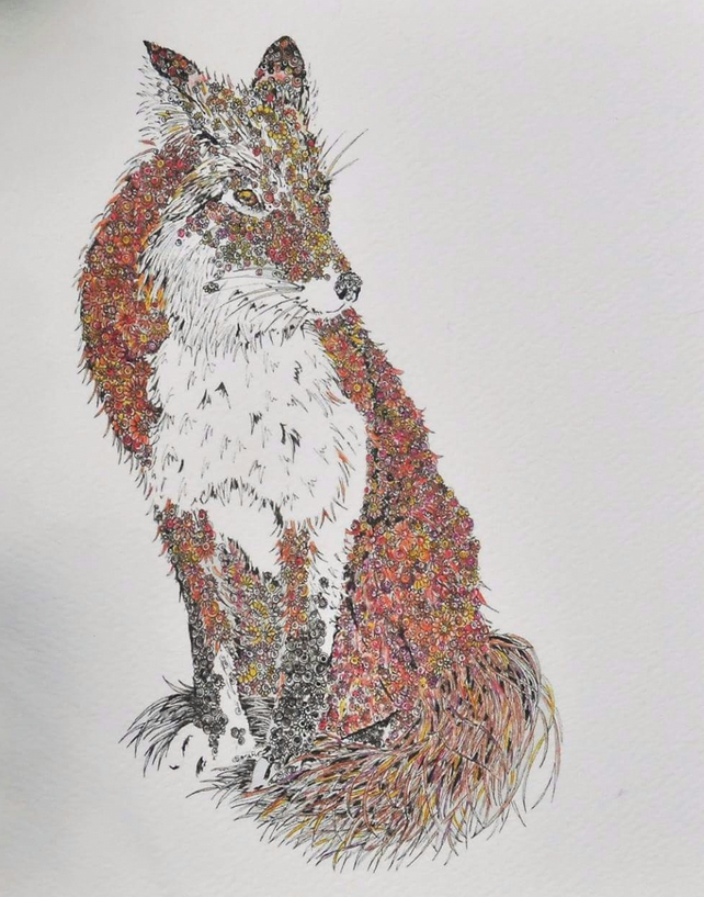 Mr Fox mounted signed print 12 x 15""