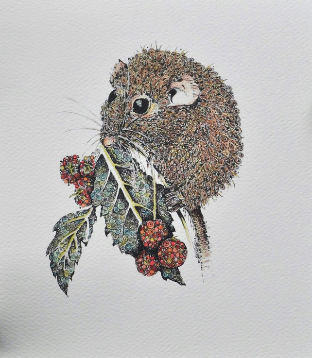 Little Dormouse Print 12 x 15'' print Mounted, ready to frame