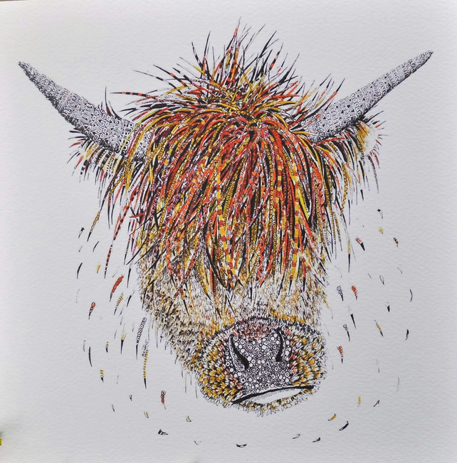 Highland Cow Print 12 x 15'' mounted, ready to frame