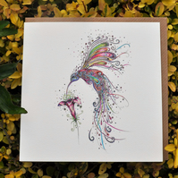 Swirly Hummingbird greeting card