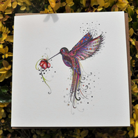 Pink Hummingbird blank greeting card
