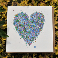 Forget-me-not Floral Heart greeting card