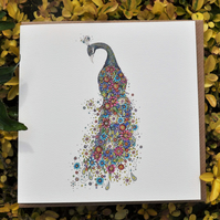 Floral Peacock blank card