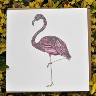 Pink Floral Flamingo blank card