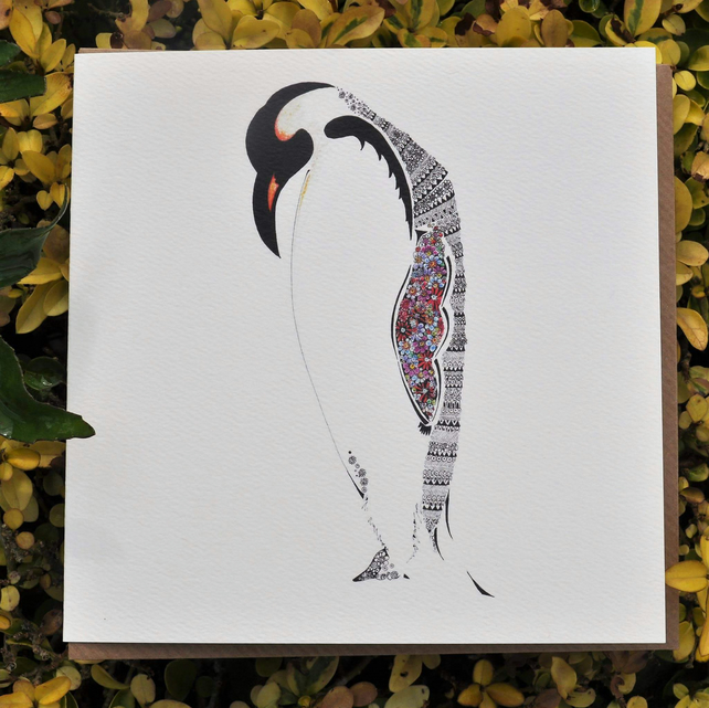 Beautiful Floral Penquin Greeting card