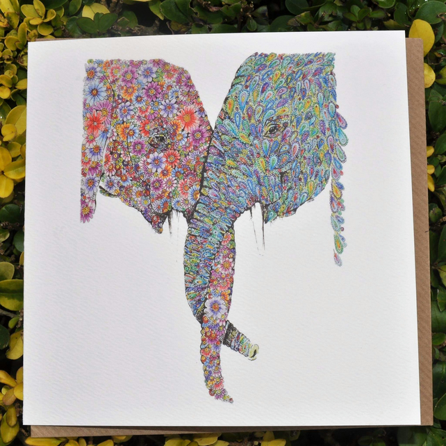 Entwined elephants greeting card (Blank)