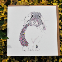 Beautiful floral Pink Bunny Greeting card
