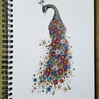 Floral Peacock a5 Notebook (lined)