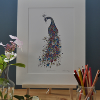 Floral Peacock a4 mounted print 12 x 15""