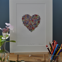 Very Berry Heart Print 12 x 15'' mounted, ready to frame