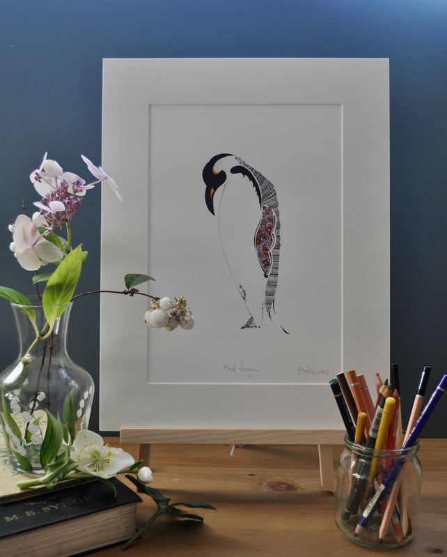 Floral Penguin 12 x 15'' mounted print