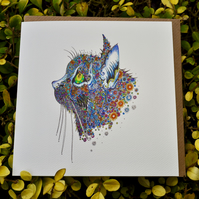 Blue Cat Greeting card Blank